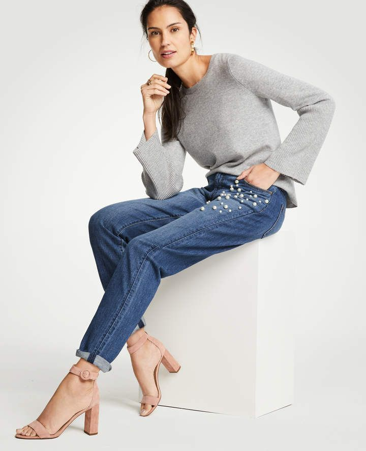 Ann Taylor Pearlized Trim Girlfriend Jeans