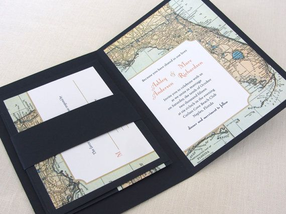 Florida Map Wedding Invitation Booklet  Vintage Map di ImbueYouIDo
