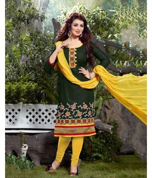 Graceful Green Salwar Kameez $22.50.Take your ethnic wardrobe a step higher on the style ladder by investing in this vibrant Green Cotton Salwar Kameez from Anabazaar. Featuring the classic color combination of green and yellow, this pretty salwar kameez crafted in fine cotton gives you all the comfort that you would need for a breezy summer.