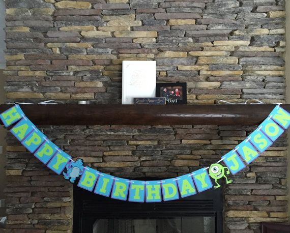 Monsters Inc Birthday Banner Monsters Inc by PaperMadeParty