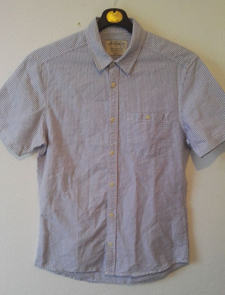 Burton Mens Casual Shirt Short Sleeve Striped Light Blue Button Up Size M VGC