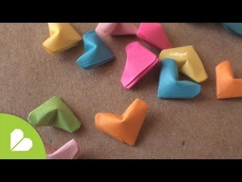 Como hacer corazoncitos de papel - YouTube