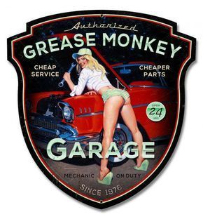 Grease Monkey Garage Pinup Girl, 2 Sizes, plasma cut shaped metal advertising sign, vintage style retro gas oil garage art wall decor