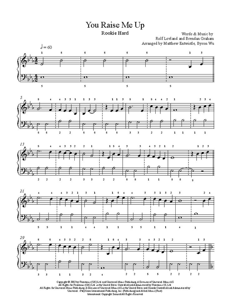 You Raise Me Up by Josh Groban Piano Sheet Music | Rookie Level