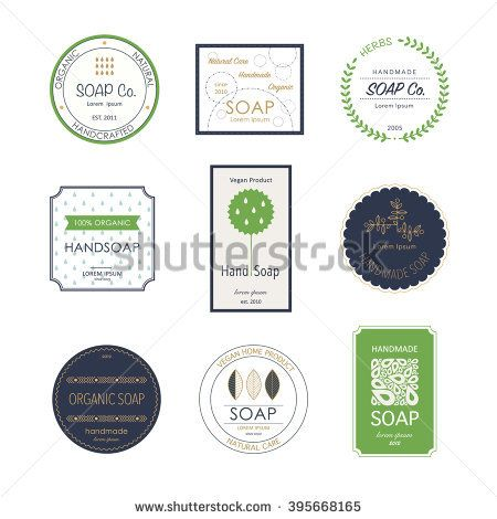 Collection of soap icons for soap or cosmetics shop, handmade soap products. Bathroom elements.  Vector symbols for soap manufacturing industry.