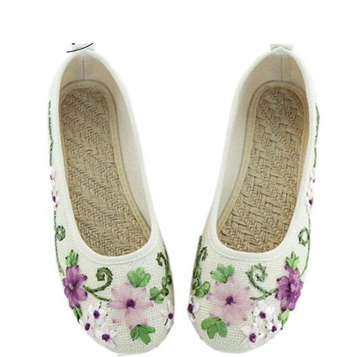 12.58$  Watch here - http://ali87e.shopchina.info/go.php?t=32797143919 - Vintage Women Flower Flats Slip On Cotton Fabric Casual Shoes Comfortable Round Toe Student Shoes Woman Size34-40 12.58$ #SHOPPING