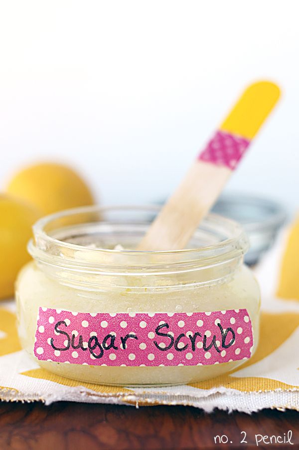 Homemade Sugar Scrub - just three everyday ingredients!    1/2 cup of coconut oil    1/2 cup of sugar    Zest of two lemons    Stir together coconut oil, sugar and lemon zest.    Use on damp skin