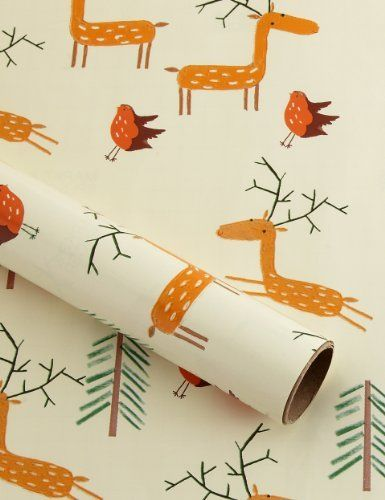 Fun Stags & Robins Christmas Wrapping Paper - Marks & Spencer - Dimensions: L300 x W70cm - £3.50