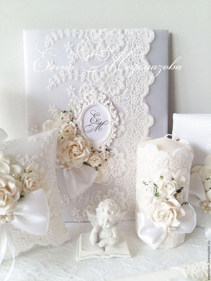 """Купить Свадебный набор """" Белая роскошь"""" - белый, свадебные аксессуары, свадьба, свадьба 2016"""
