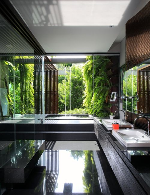 Bathroom with view, lots of lush greenery,  serenity