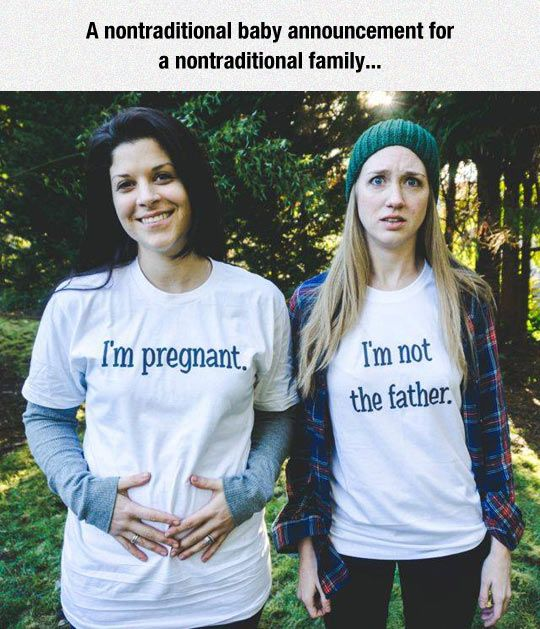 fun Best untraditional baby announcement ever from untraditional couple