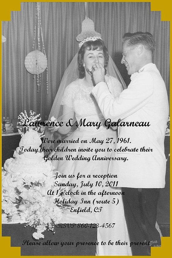 50th Wedding Anniversary Photo Invitation print by