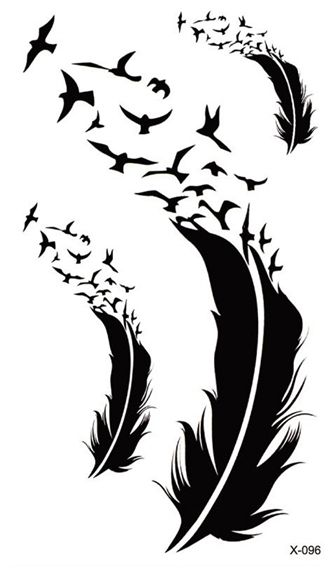 Waterproof Temporary Tattoo Sticker bird feather tattoo body art Water Transfer fake tattoo flash tattoos for girl women