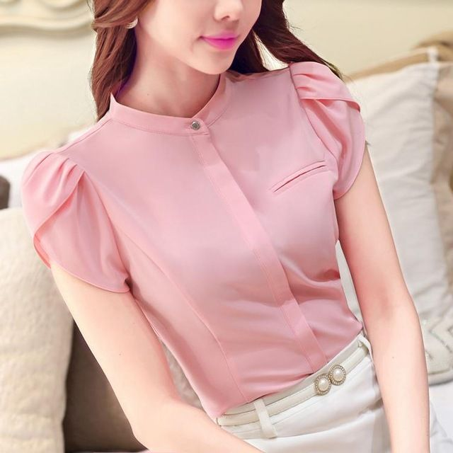 2016 nuevo llega el verano corto manga de la camisa blusa mujeres de negocios elegante simplemente Collar del soporte camisa