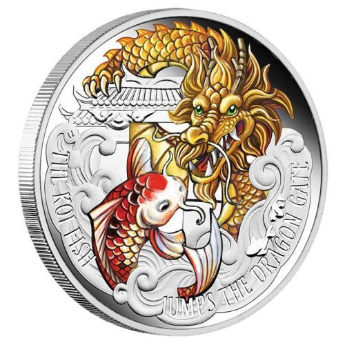 Celebrate the legend of the koi fish jumping the dragon gate,  a popular and inspiring myth in Chinese culture | The Koi Fish Jumps the Dragon Gate 2016 5oz Silver Proof Coloured Coin | The Perth Mint