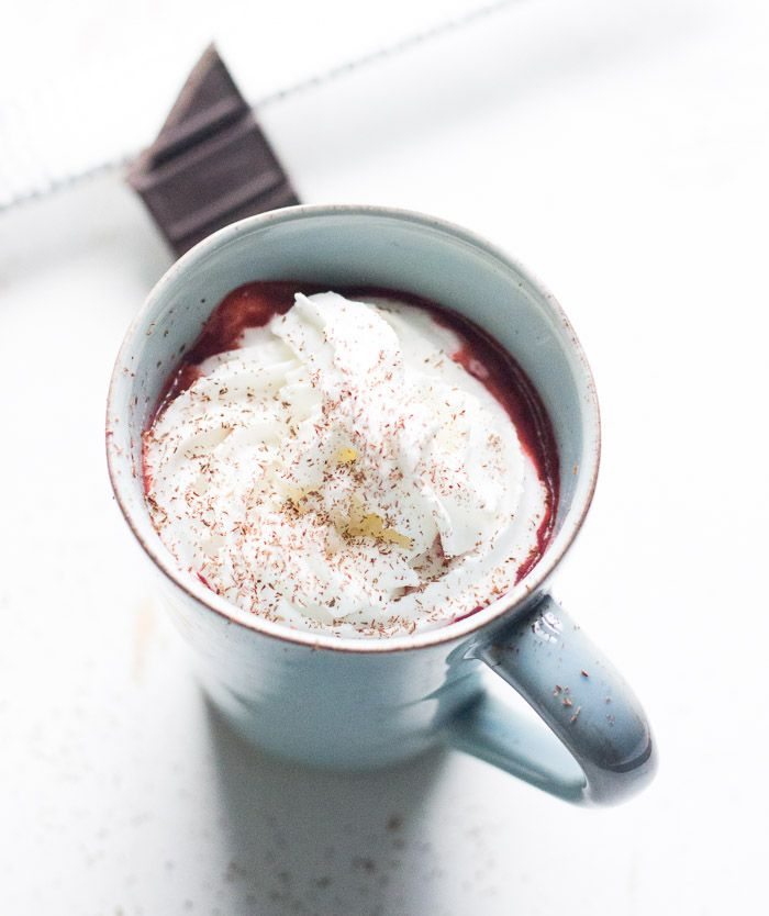 Red Velvet Chocolate Steamer is thick and rick with lots chocolate taste and that signature red velvet hue.