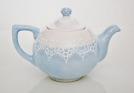 Victorian blue and white teapot handpainted with lace dotting