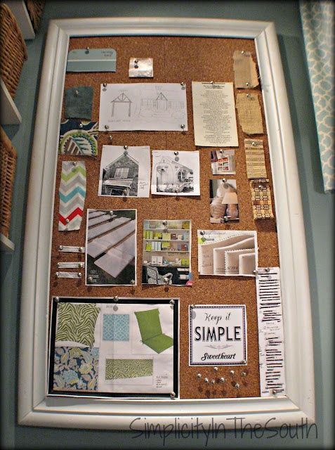 "DIY idea/bulletin board. ""It was inspired by the one that Ballard Designs sells for $149.00. It's just a salvaged frame with cork board tiles glued to a piece of plywood...It's nice to have something pretty to look at and it hides the fuse box."""