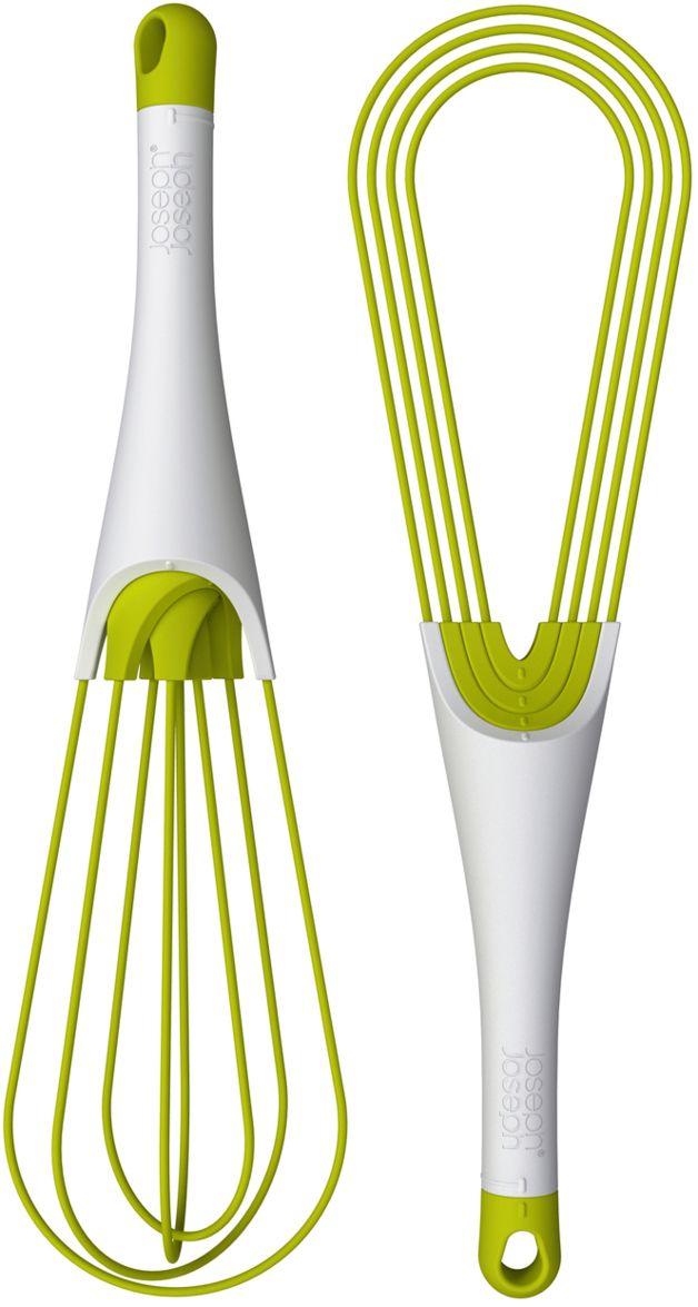 whisk that folds flat so it doesn't get your utensil drawer stuck, josephjoseph.com
