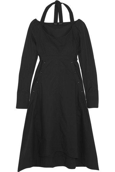 Proenza Schouler - Asymmetric Cotton-poplin Midi Dress - Black