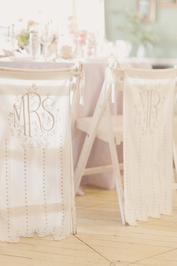 adore these chair banners from http://www.bhldn.com/  Photography by elisabethmillay.comDecor Ideas, Wedding Plans, Vintage Wedding, Floral Design, Chairs Decor, Wedding Floral, Chairs Back, Wedding Chairs, Chairs Covers