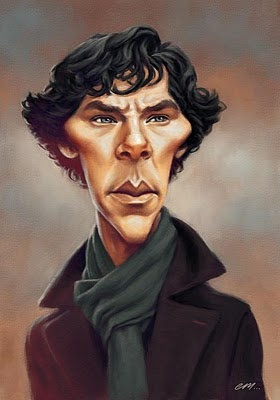 "Caricature of Benedict Cumberbatch as ""Sherlock"" from Paper, Pencils, Pixels"