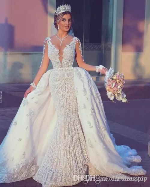2018 Saud Arabe Sirene Robes De Mariee Avec Detachable Jupe