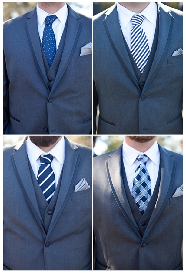 different patterned ties. same color. Or different patterned shirts, same tie.