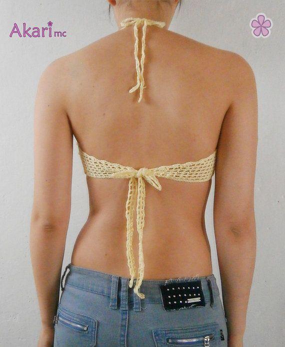 Patrón de crochet de sujetador de bikini por AkariCrochet en Etsy