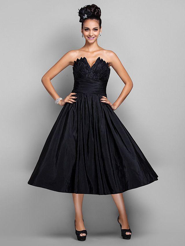 vestido de una línea de cuello en V cóctel de té de longitud tafetán / prom (699433) - MXN $1,352.63