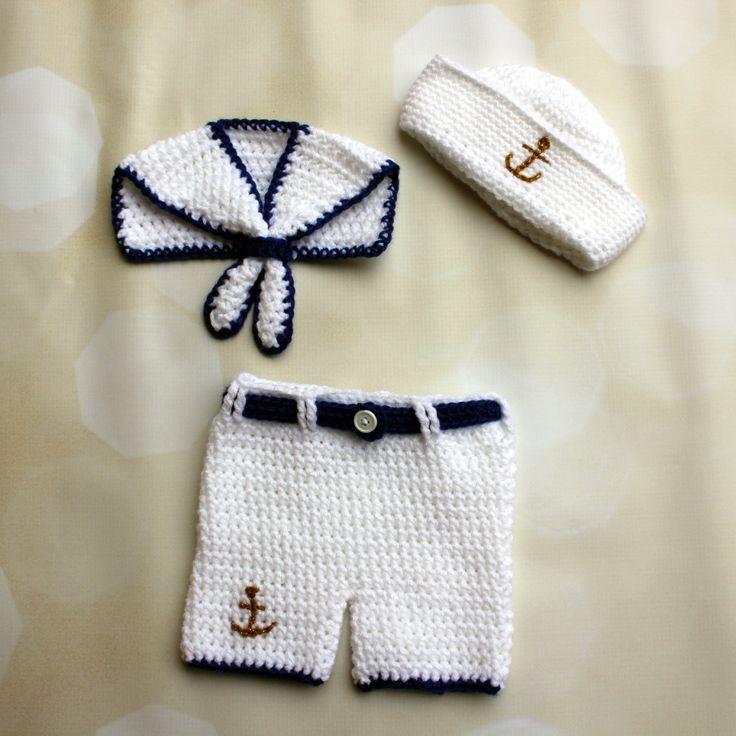 Sailor Set - Crochet Sailor Set - Baby Sailor outfit - Nautical Shorts Set - Navy Baby Hat - Sailor Photo Props - Nautical Baby Photo Props