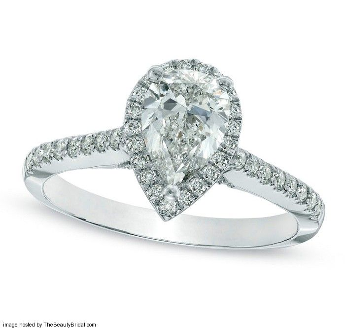 Zales Classic Pear Shaped Diamond Halo Engagement Ring in 14k White Gold