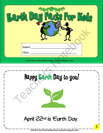Earth Day Facts For Kids Mini Book from A_Teachers_Idea on TeachersNotebook.com (10 pages)