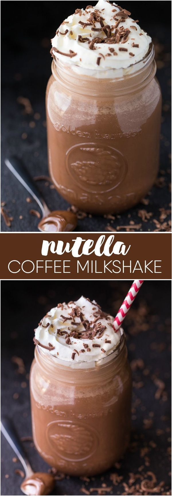 ~Nutella Coffee Milkshake - Perfectly sweet, chocolatey with a hint of nuttiness! A cold and refreshing way to get your caffeine fix~