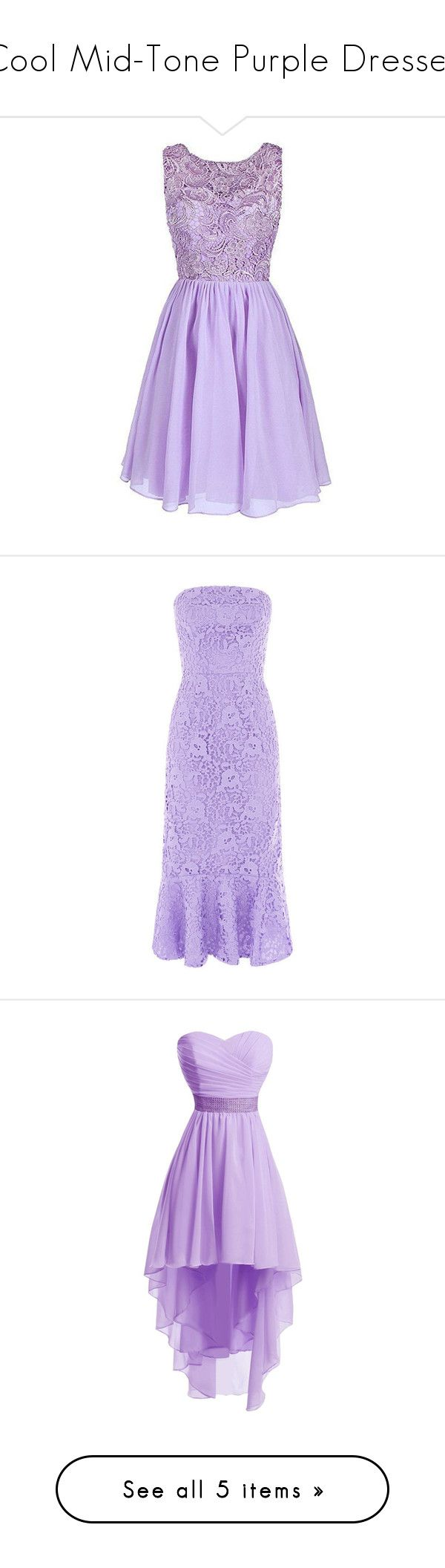 """Cool Mid-Tone Purple Dresses"" by tegan-b-riley on Polyvore featuring dresses, short homecoming dresses, purple prom dresses, purple formal dresses, prom dresses, short prom dresses, lace dress, lace evening dresses, strapless evening dresses and cocktail dresses"
