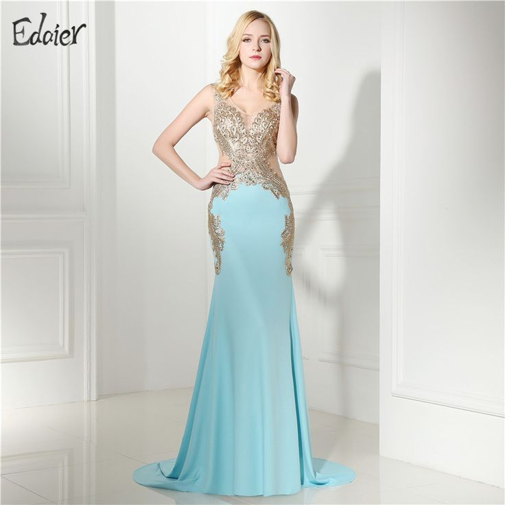 Backless Mermaid Evening Dresses Long Sexy Blue Gold Lace Beaded Illusion Formal Evening Party Gowns Prom Dress Plus Size  #Affiliate