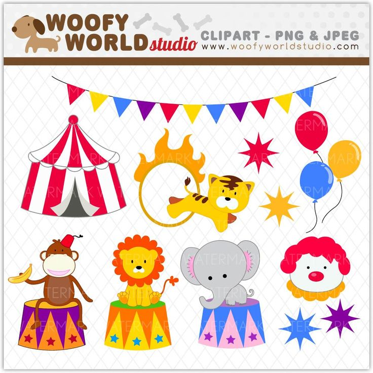 Circus Carnival Animal Clipart INSTANT by WoofyWorldStudio