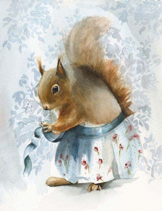 A New Apron - Squirrel Art Print