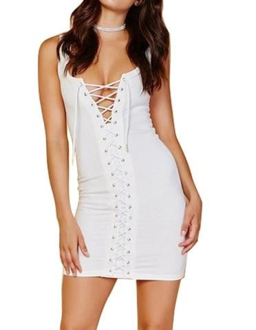 White Lace Up Tight Sundress Bodycon Short Summer Dress