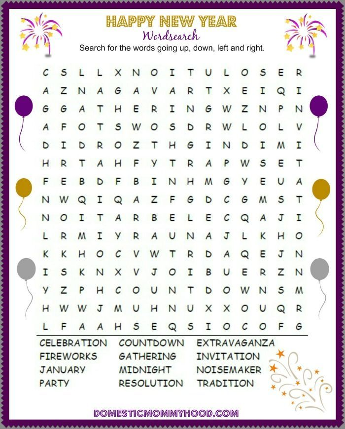 This Happy New Year Word Search Free Printablewill give the older kiddos something to do on New Years Eve.:
