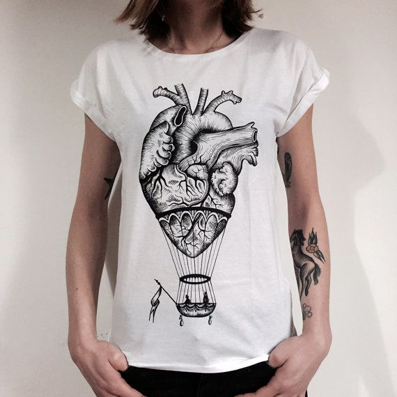 Anatomical heart / hot air balloon t-shirt for ladies. WHITE.Screenprinting handmade design, vintage style drawing.Tunic tee ,girt for her