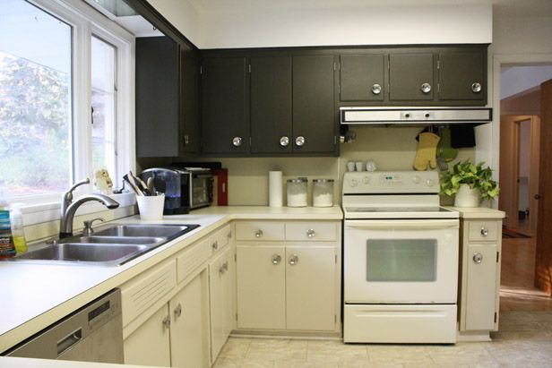 After before after kitchen cabinet painting http for Almond colored kitchen cabinets
