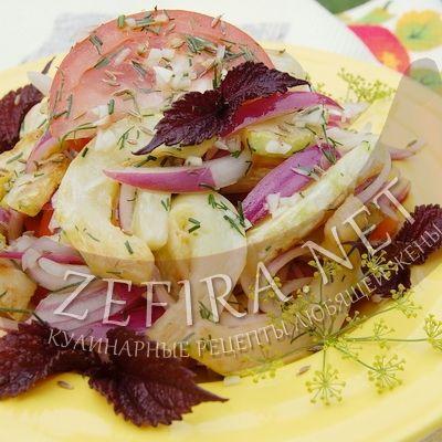 Салат из жареных кабачков с маринованным луком-домашние рецепты с фото