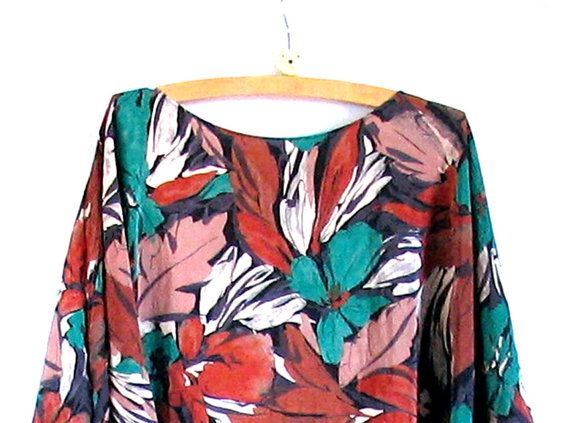 dropped waist floral print skirt vintage 80s sheer by vintachi, $19.00
