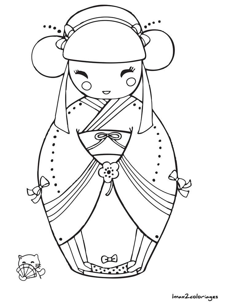 coloriage poupee japonaise numero 1