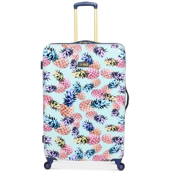 "Jessica Simpson Pineapple Hardside 29"" Spinner Suitcase ($160) ❤ liked on Polyvore featuring bags, luggage and mint"