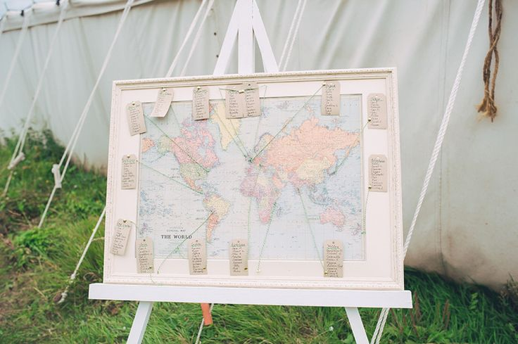 Map of the world wedding table plan | Photography by http://www.simonbiffenphotography.co.uk