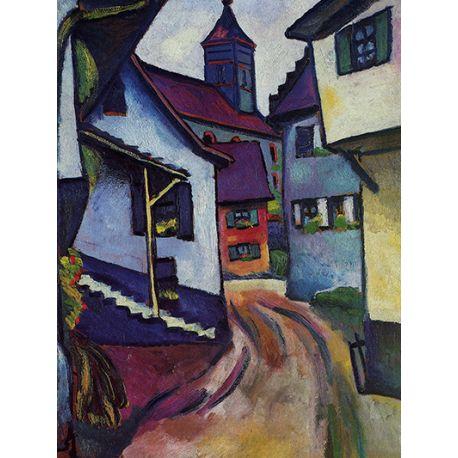 Street with church in Kandern - August Macke - reprodukcje na płótnie - Fedkolor