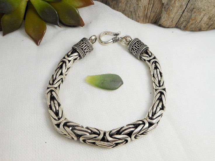Cool Chunky Handcrafted Sterling Silver 7 mm Thick Sterling Silver Byzantine Bracelet,Bali Chain Bracelet,Byzantine Chain,Personalized Gifts by Supsilver on Etsy