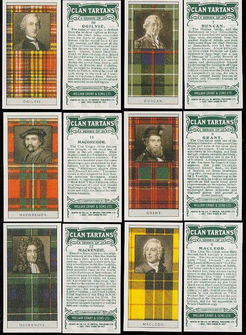 Scottish Clan Tartans - Glenfiddich Card set MacGregor center left ~ **MacLeod**